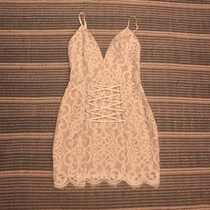 Lace Criss Cross Mini Dress
